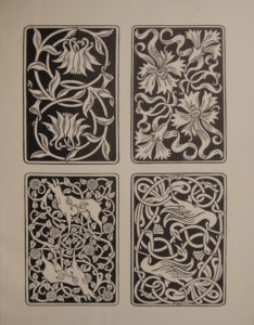 The image is of 4 playing card designs They are all curvilinear art nouveau designs Two of the cards have floral designs and the other two are of fauna one with two deer and the other with two swans The image is displayed vertically