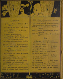 Back cover is divided vertically into two sections by a lit candle The candle separates the Literature list on the left from Art list on the right The cover is divided horizontally into three sections by the black frame of polka dot curtained window at the top and by a flowered pane at the bottom In the upper left there is a torso of a masked woman with light hair and striped attire looking sideways to the left To her right is the polka dotted curtain which is positioned behind a candelabra To the right of the curtain that is at the centre is the torso of a bare shouldered smiling black haired woman in large hat with bow The lit candle in the middle separates this woman from the torso of a harlequin in profile with a large ruff on neck To the right there is another polka dotted curtain behind this curtain is a 3 4 view of the torso of a woman in black with black hair smiling with downcast eyes facing right Artist s signature is at bottom centre to the immediate left and right of the candle that divides Literature and Art The image is vertically displayed and printed with black ink on yellow background