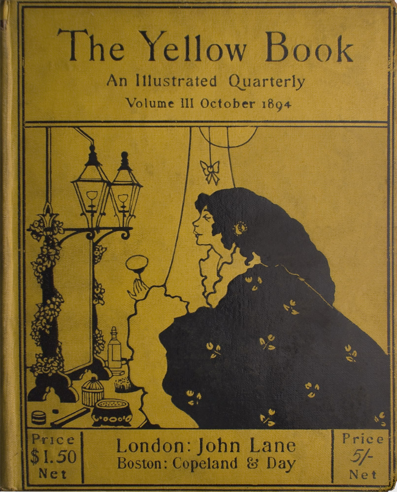 Image is divided into three pieces horizontally the central illustration, the header and the footer The central illustration takes up more than half of the cover It shows a woman in the right half of the frame She has long dark hair and she is wearing a black dressing gown with white cuffs and collar The gown is decorated with white flowers She is shown in profile holding a powder puff She is in front of a mirror decorated with a garland and illuminated by two lamps There are toiletry articles on the dressing table in front of her There is the suggestion of curtains behind her Immediately above her head depending from a string is a bow The image is vertically displayed and printed with black ink on yellow background