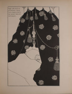 Image is of a small sleeping man in an enormous white bed He has the blankets pulled up to his chin with his tiny turbaned head resting on a pillow Black bed curtains divide the image in half vertically The curtains are decorated with flowers and tassels Through the curtain s opening there is a small figurine of a topless woman attached to what seems to be a bell pull The image is vertically displayed