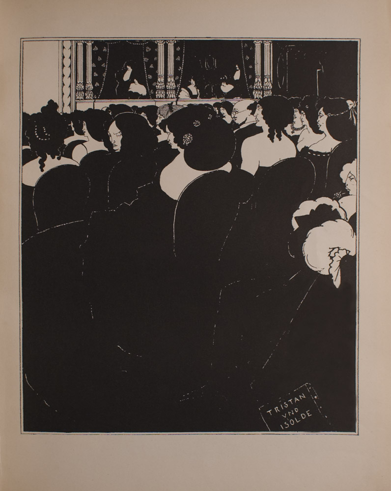 Image is of an audience sitting in rows at an opera In the foreground there are women with elaborate hair and bare shoulders as well as one bald man with glasses In the background there are three opera boxes with standing men and seated women Each opera box is separated by pillars and flowered curtains In audience at far right there is a seated woman holding an enormous muff On the ground in bottom right corner there is a program for TRISTAN UND ISOLDE The image is displayed vertically