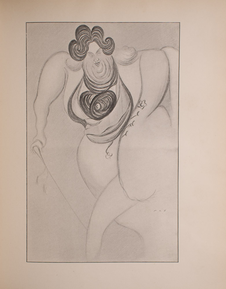 Image is of a man shown full frontal with curly black hair and a large body taking up almost all the space in the image His face is also quite large and full folds of skin are visible under his chin He is walking with a tassled walking stick The man is wearing a tailcoat a waistcoat and an ascot The lines of the figure are curvy but quite faint allowing for the outline of the man to blend in with the background which is open and light coloured This image appears to be a caricature of Oscar Wilde The artist s signature is to the right of the mans leg The image is vertically displayed