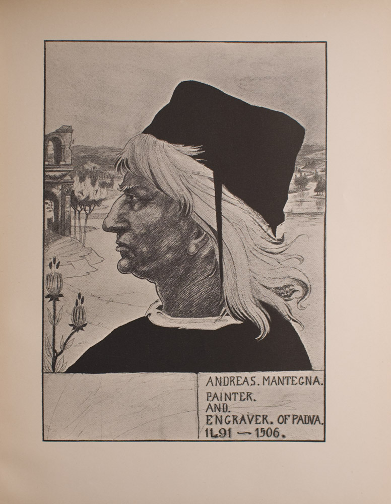 Image is of man in profile taking up about 3 4 of the frame He is wearing a Renaissance style black hat over light coloured hair that reaches his shoulders He is wearing dark clothing with a narrow white collar In the foreground to his left are two thistles In the background there is a ruined archway trees distant hills and a river stream The sky above him is clear and empty The image is vertically displayed
