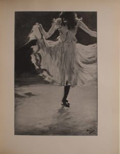 Image is of a young woman dancing in a white skirt and black stockings viewed from the back She is holding the skirt out at the edges while she kicks her left leg to the side Her head is cut off at the top but her shoulder length dark hair is visible There is the suggestion of both a stage and a spot light The background is open and undefined The artist s signature is in the bottom right corner The image is vertically displayed