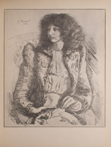 Image is a half portrait of a seated woman with dark hair She is wearing a light coloured dress and holding a hat on her lap She is shown in 3 4 face with eyes looking down and to the left She takes up approximately 3 4 of the image There is a suggestion of a chair behind her The background is open and light coloured The artist s signature and date is to the left of the woman s head The image is vertically displayed