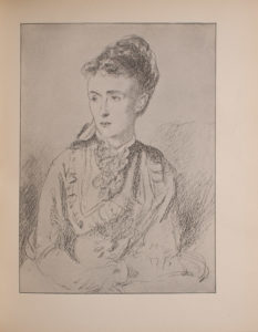 Image is a half portrait of a seated woman looking to the left taking up approximately 3 4 of the image Her hands are crossed on her lap only partially shown She is wearing her dark hair done up and has a lace jabot at her throat The background is light coloured and open The image is vertically displayed