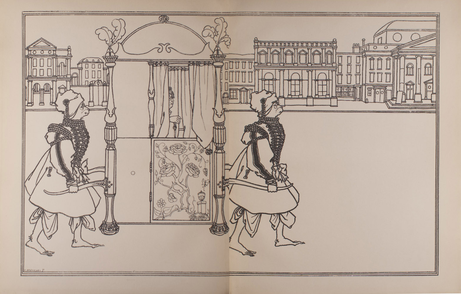 The image is of two apelike figures carrying a sedan chair A figure sits in the chair mostly hidden by curtains The chair is decorated with a rose pattern on the door and feathers extending from the posts The apelike figures are wearing embellished attire with braided coats bows and decorated headpieces They are barefoot In the background there is a city street with buildings The image is vertically displayed and spans two pages a double page opening