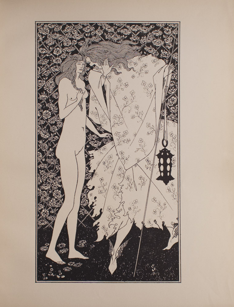 The image is of two figures that are standing on the grass with flowers beside their feet The figure on the left is a woman who is nude She has long hair and she is twirling a strand around her fingers with her right hand She is half facing the figure on the right The figure on the right also has long hair and is whispering into the woman s left ear The figure is wearing a long flower patterned robe and is holding a long thin staff with a lantern tied to the staff The figure holds it in its left hand The figure is also wearing winged shoes In the background there is a rose trellis The image is vertically displayed