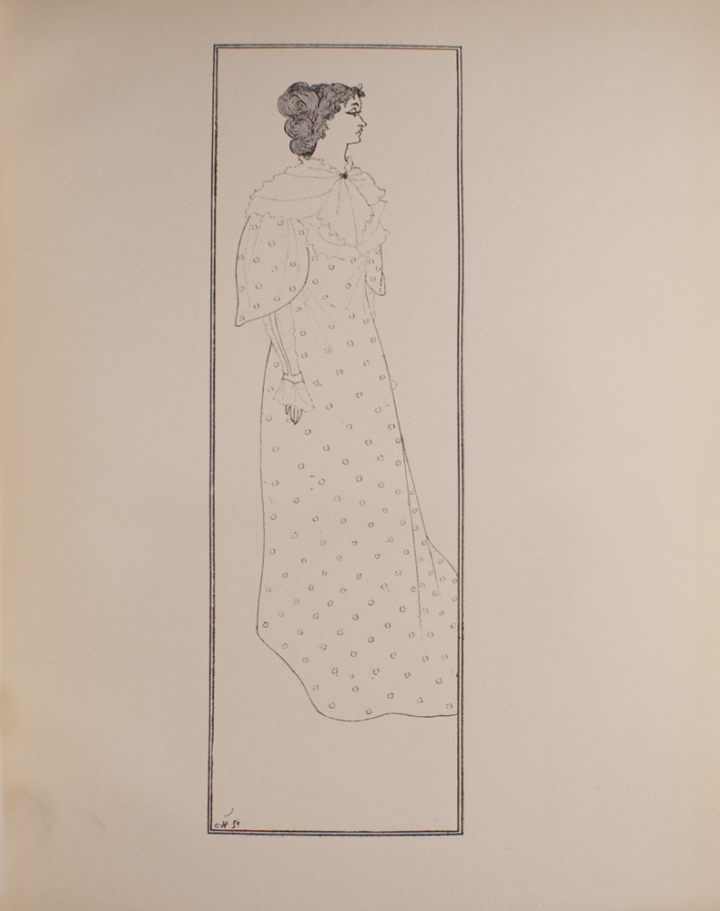 The image is of a woman facing right The woman is wearing a long dress with a polka dotted pattern and a lace collar and sleeves Only the woman s right arm is visible The image is vertically displayed