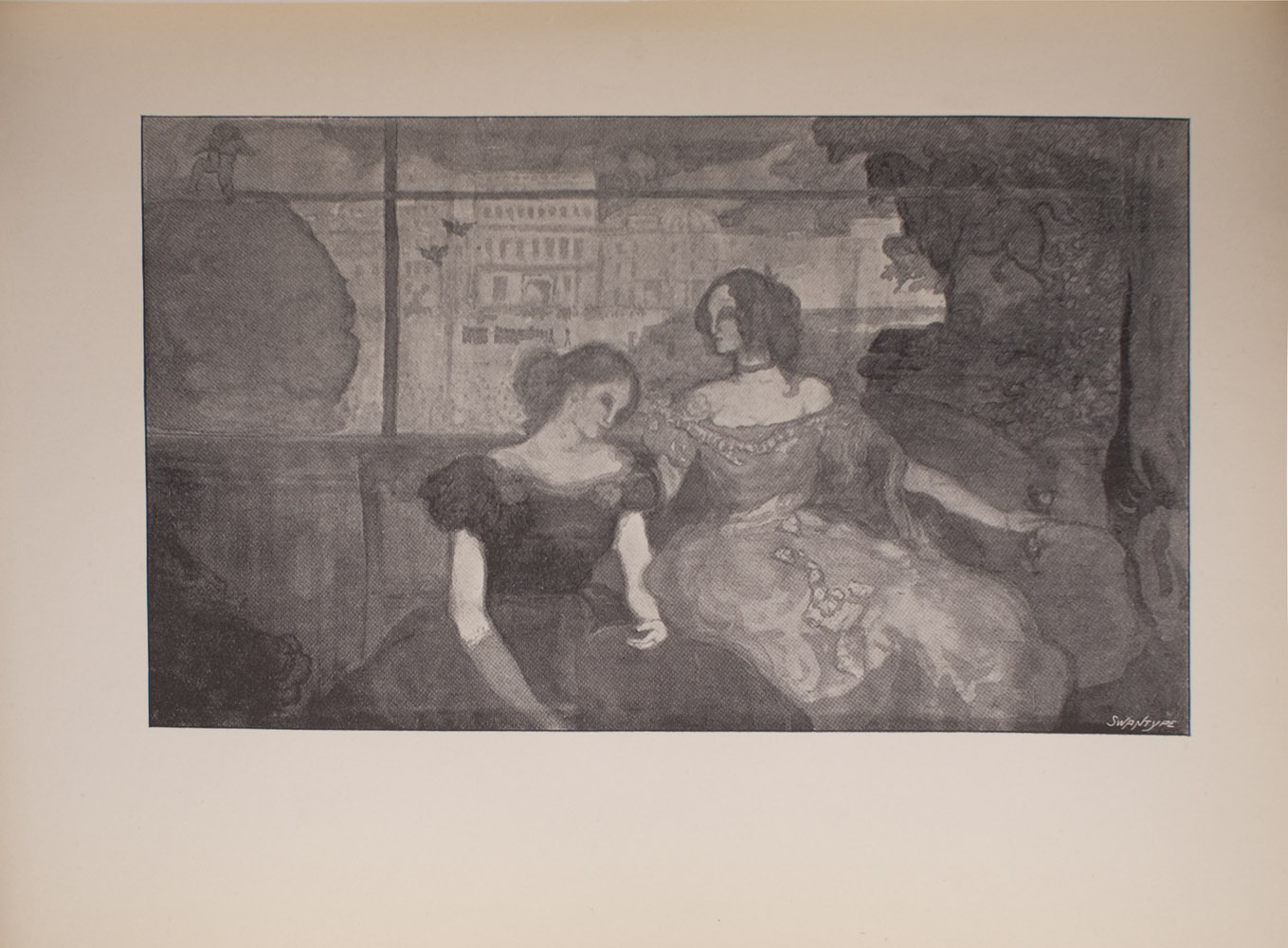 The image is of two women who are both seated The woman on the left sits lower than the woman on the right The woman on the left is wearing a dark evening gown while the woman on the right is wearing a lighter gown The woman on the right is wearing a choker around her neck and is looking to the viewer s left The woman on the left is looking down and to the viewer s right In the background of the image there are buildings There are lines that cut through the image both vertically and horizontally which may indicate a window behind the seated women The horizontal line could also be a type of beam or tightrope In the left side of the background there is a figure gender unknown that appears to be balancing on the horizontal beam or rope above a tree The image is horizontally displayed