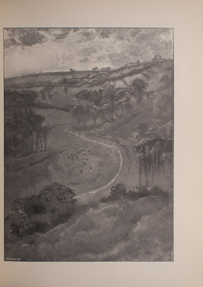 Image is of a pastoral landscape looking down from a high elevation showing a winding stream through groves of trees on a high down A herd of sheep or cattle graze in the meadown to the left of the stream The image is vertically displayed