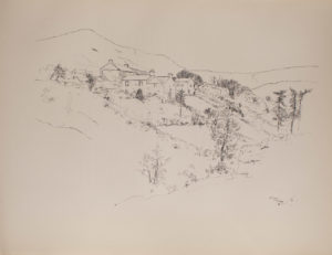 The image is of a small village In the foreground there are trees a stone enclosure and shrubbery The village dwellings are in the middle ground In the background there are hills The image is not framed and is horizontally displayed