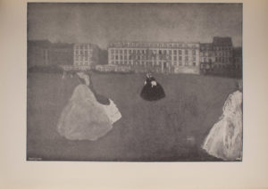 Image is of women walking in the foreground and middle ground both alone and in pairs In the background there is a series of buildings with many windows The women are wearing long full skirts The image is displayed horizontally