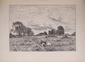 The image is of two seated female figures in the foreground of a field In the background there are trees and a large skyscape with clouds Both female figures are wearing light coloured skirts and hats that obstruct the view of their faces The image is horizontally displayed