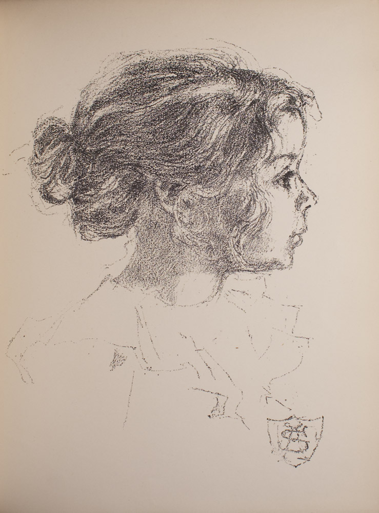 The image is of a young girl in profile facing right Only her shoulders and head are visible The girls hair is tied up in a messy bun and loose tendrils frame her face She is wearing a light coloured ruffled collar The artists initials are in a crest like form at the bottom right of the image The image is vertically displayed