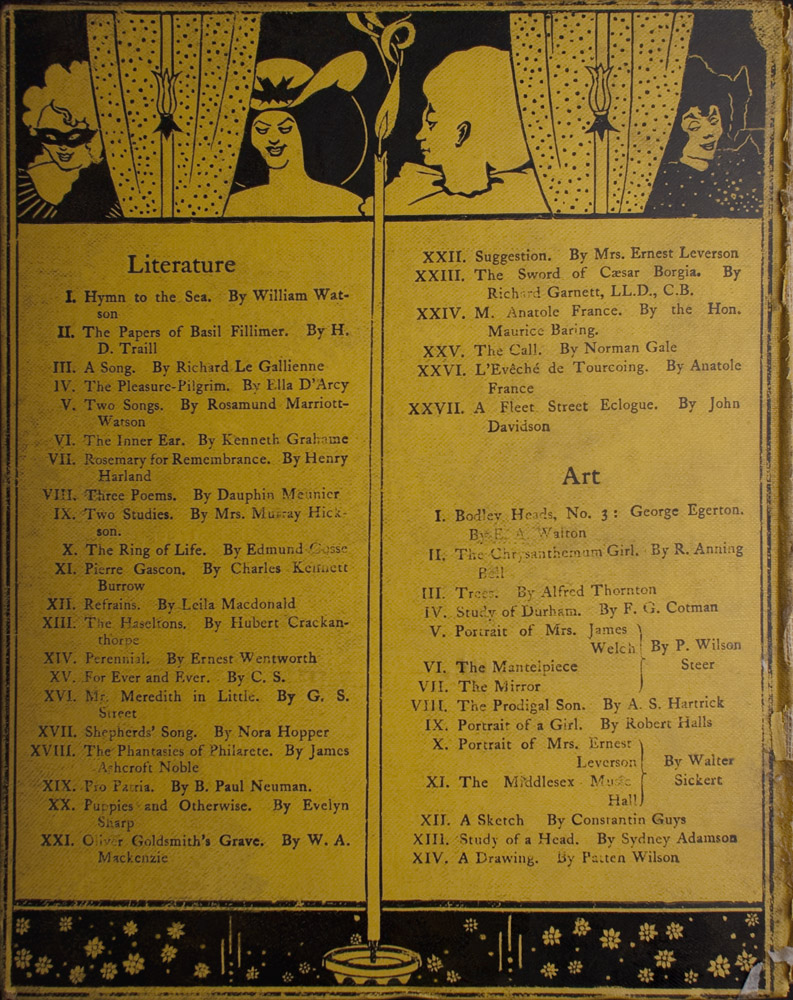 Back cover is divided vertically into two sections by a lit candle The candle separates the Literature list on the left from the Art list on the right The cover is divided horizontally into three sections by the black frame of polka dot curtained window at the top and by the flowered pane at the bottom In the upper left there is a torso of a masked woman with light hair and striped attire looking sideways to the left To her right is the polka dotted curtain which is positioned behind a candelabra To the right of the curtain that is at the centre is the torso of a bare shouldered smiling black haired woman in a large hat with a bow The lit candle in the middle separates this woman from the torso of a harlequin in profile with a large ruff on its neck To the right there is a another polka dotted curtain behind this curtain is a 3 4 view of the torso of a woman in black with black hair smiling with downcast eyes facing right Artist s signature is at the bottom centre to the immediate left and right of the candle that divides Literature and Art The image is vertically displayed and printed with black ink on yellow background