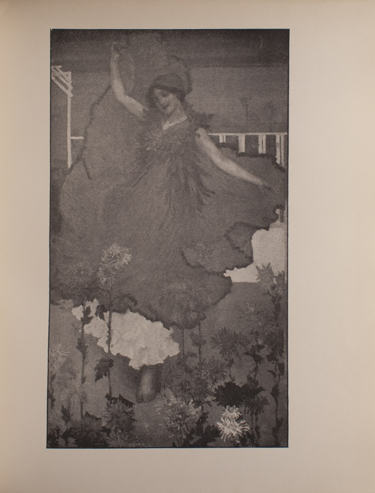The image is of a female with her eyes closed who appears to be dancing She is wearing a billowy dress with no sleeves and a collar that appears to have many petals She is also wearing a headpiece and a necklace Her right hand is extended above her head holding the hem of her dress Her left hand is extended away from her body and raised to hip level She appears to be wearing another billowy white garment under the top dress She is barefoot In the foreground there are flowers and in the background there is a fence and a gate The image is vertically displayed