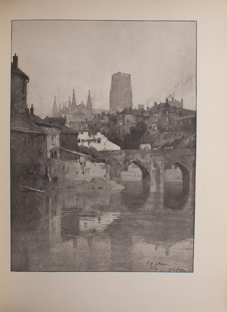 The image is of a cityscape There is a body of water in the foreground and several buildings in the middle ground and background Reflections of the buildings can be seen in the water In the middle ground to the right is a double arched bridge On the bridge is a covered carriage pulled by two horses or mules The background buildings appear to have smoke coming from rooftop chimneys Beyond these buildings is what appears to be the tower and steeples of Durham Cathedral The sky is cloudless and bright The image is vertically displayed