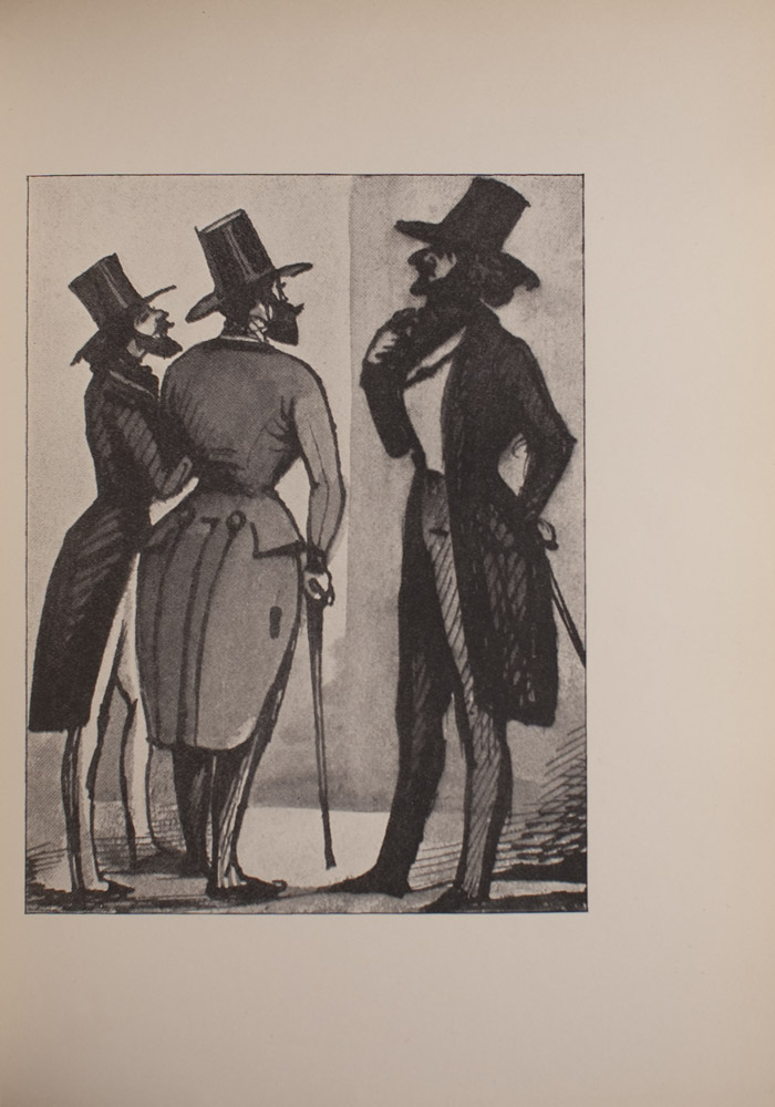 The image is of three men of varying heights in top hats and tails The man in the middle and the man on the right both have walking sticks All three men have facial hair The man in the middle has his back turned to the viewer and only part of his face is visible The man on the right and the man on the left are both in profile A line that runs vertically down the centre of the image marks a change in background colour which suggests two intersecting walls The image is vertically displayed