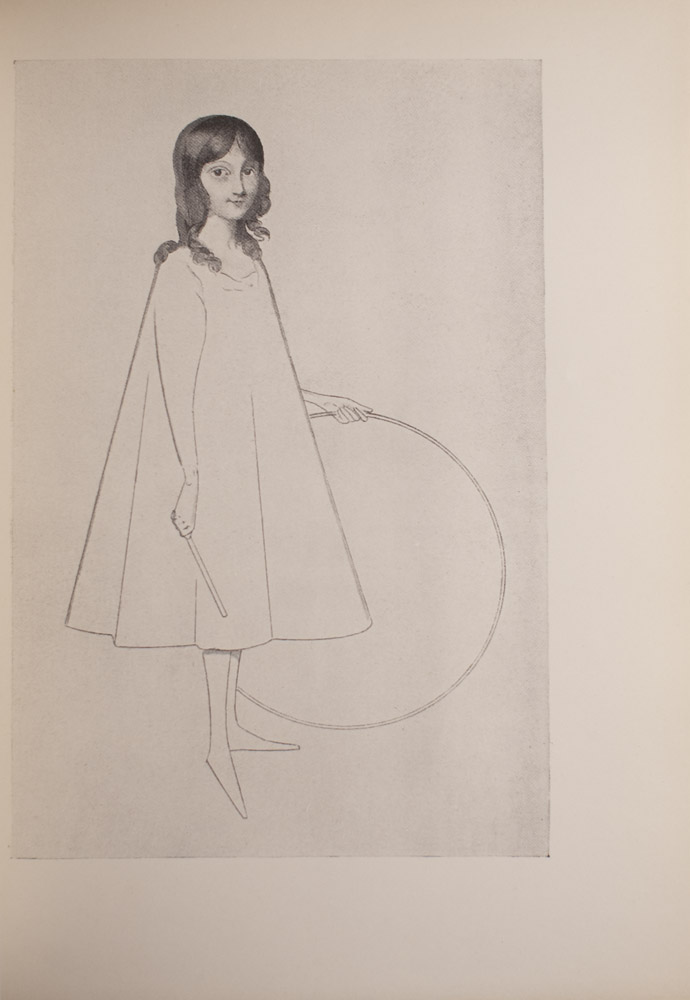 The image is of a young barefoot girl holding a hoop in her left hand and a stick in her right hand The girl is wearing a calf length loose fitting light coloured dress The girls hair is down and her gaze is forward Her right foot is pointed downward The head of the girl is more detailed and shaded compared to her body which is drawn using simple lines The image is vertically displayed