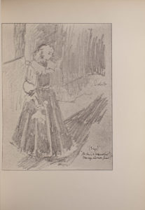 The image is of a light haired woman wearing a full length dress facing right The dress has puffed sleeves and a large collar The woman is standing on a stage and there is a half opened curtain behind her She appears to be holding an instrument possibly a violin in her left hand which is elevated to the left side of her face In her right hand she appears to be holding a handkerchief To the womans right her shadow can be seen on the stage The image is vertically displayed