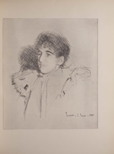 The image is a half portrait of an androgynous looking woman who is facing left Only her shoulders and head are visible She is wearing a garment with large puffed shoulders and appears to be wearing a scarf or tie The image is vertically displayed