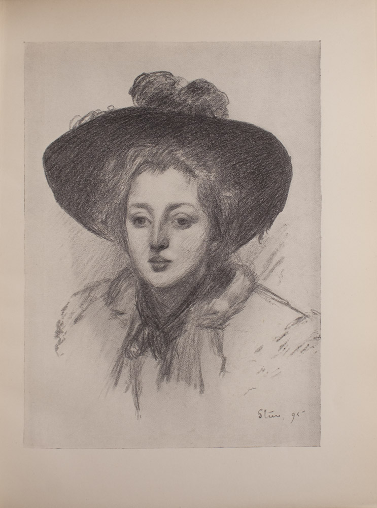 The image is of a woman wearing a hat It is a half portrait showing only the womans head and shoulders The hat has a large brim and there appears to be feathers on top The woman also wears a scarf around her neck The image is vertically displayed