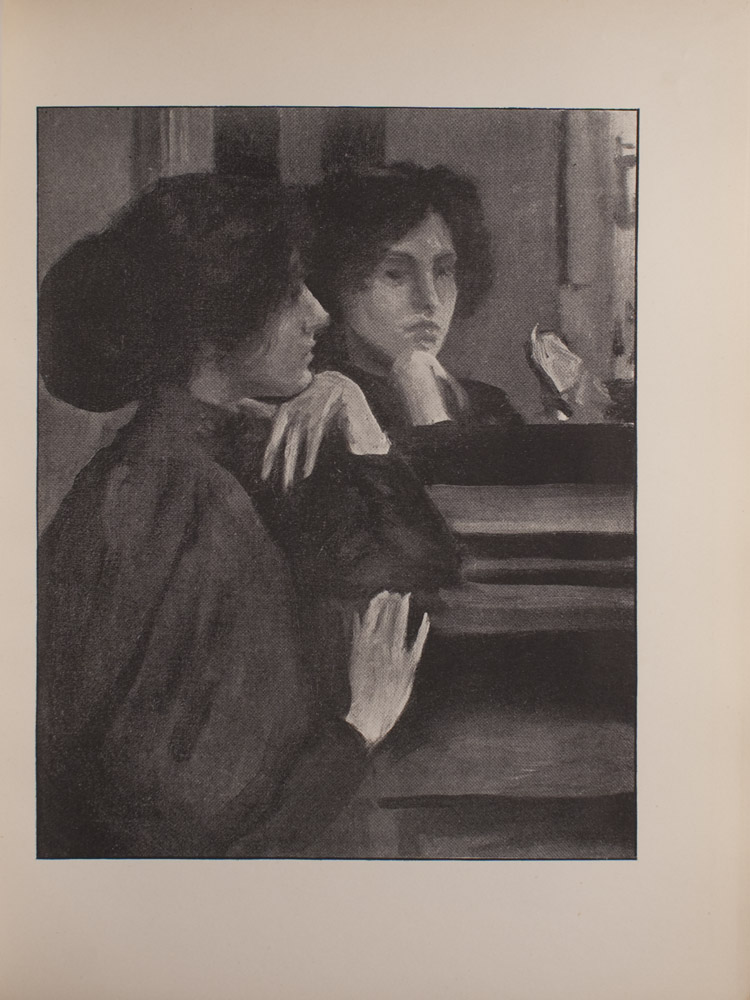 The image is of a dark haired woman in front of the mirror Only the top half of her body is visible The womans left elbow rests on a mantel and her chin rests on the top of her left hand Her right hand is lightly touching the mantel The woman is in profile turned slightly towards the mirror and away from the viewer Her face is fully visible in the mirrors reflection The woman is wearing dark clothing with puffed sleeves The image is vertically displayed