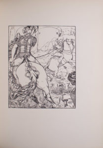 The image is of two men on horseback The man in the left foreground has his back to the viewer He is wearing a turban elaborate armour and has a moustache In his left hand is the end of a lasso which is tied around the torso of the other man on horseback The man in the right middle ground struggles with the lasso while his horse rears His sword has dropped to the ground The man on the rearing horse also wears a turban and has a moustache but appears to be without armour In the right foreground there is a figure in armour drawing a sword The figure is only partially in view and of indiscriminate gender There is dirt grass and plantation in the area around the men and flowers in the left corner of the image In the background there are buildings with curved angles The image is vertically displayed