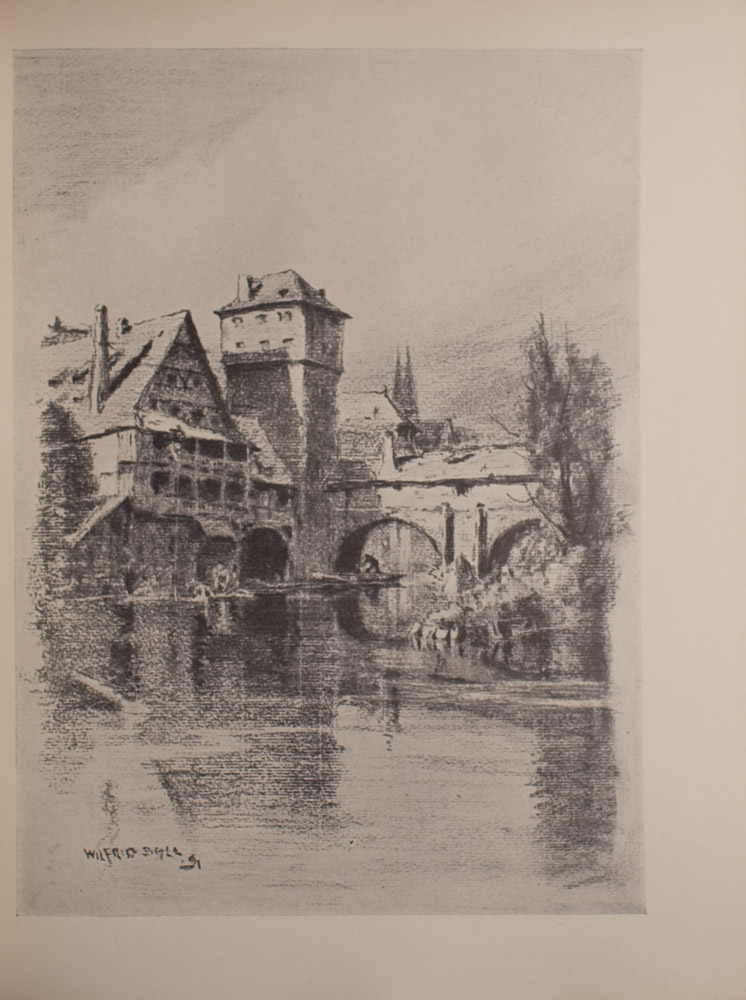 The image is of a waterway buildings a water tower and an arched bridge The waterway is in the foreground and middle ground The buildings and water tower are in the middle ground and are on the left side of the image while the bridge is on the right side In the far right middle ground obstructing the view of the bridge is a shoreline with trees and other vegetation There is a figure under the arch of the bridge closest to the water tower In the background there is a suggestion of church spires The image is vertically displayed