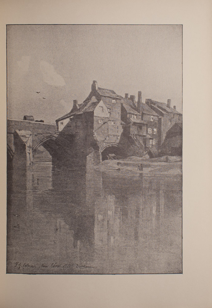 The image is of a waterway in the foreground and an arched bridge and buildings with many windows and chimneys in the middle ground The bridge is on the left and the buildings are on the right On the bridge there is a covered wagon being pulled by an unidentifiable animal or animals In the sky above the bridge there are two birds A small shoreline can be seen behind the buildings There are two figures on the shore The reflection of the buildings can be seen in the water The image is vertically displayed