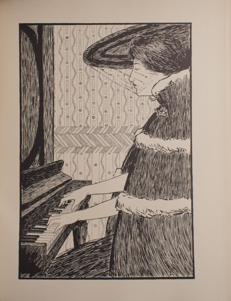 The image is of a woman in profile playing piano The woman is facing left and looking strait ahead She is wearing a large hat with a veil over her face She is also wearing a cloak with a high collar and a decorative clasp at the neck There is a fur trim at the collar and around the body of the cloak The wall behind the woman has patterned wallpaper The image is vertically displayed