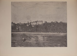 The image is of a waterside scene In the foreground there is a large body of water with two boats on the left side of the image In the middle ground there is a shoreline with many trees Beyond the forest of trees is a large building with smoke rising from the chimney The reflection of the landscape can be seen in the water The image horizontally displayed
