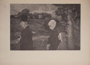 The image is of four standing figures The figure on the far left of the image is a light haired man in a top hat dark coat and white collar He is holding a book in his left hand He is in profile facing left To the right of him is a woman wearing a light coloured head covering hiding her hair She is also wearing a dark coloured hooded cloak Her hands are folded in front of her down by her waist She is in profile facing left Her head is slightly bowed and her gaze is cast downwards Beside and slightly to the right of the woman is a child of indeterminate gender The child has shoulder length hair The child is in profile facing left and its gaze is to the left Only the top half of the childs body is visible To the right of the man woman and child is a tree There is a man behind and slightly to the right of the tree His left hand is resting on the tree trunk He is wearing a light coloured shirt and a hat and his gaze is upwards In the middle ground there is a field or valley and in the background there are buildings The image is horizontally displayed