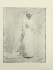 Image is a full figure of a woman shown in 3 4 face facing the right She is wearing a bridal gown and a veil The dress is long sleeved with a train Her light coloured hair is done up securing the veil in place There is the suggestion of flowers in her left hand She is looking down toward the flowers The background is open and light coloured The artists signature and year F B 91 are in the bottom right hand corner of the image The image is vertically displayed