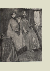 Image is an interior scene with a male figure a female figure and a third figure harder to distinguish The male and female figures are both wearing long robes with long sleeves The man is sitting on the right the woman is on the left He is bearded with long hair and a headpiece His left arm is extended outward his right hand is resting on his leg His foot is sticking out slightly from underneath the robe The womans right hand is clasping her left one loosely these hands are resting on the mans right shoulder She is shown in 3 4 face Her dark wavy hair is braided and secured by a headband In the background to the right of the mans shoulder is a hooded figure seated in front of a large window On the left side of the woman is a table with a figurine on it The artists signature and the date John Costa 93 are written in the bottom right The image is vertically displayed