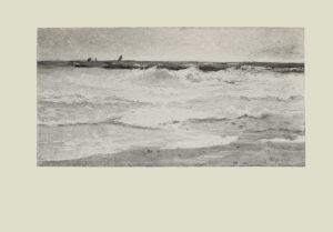 Image is of a seascape Small waves are crashing on a shoreline The shoreline spans the bottom portion of the image in the foreground In the background there appear to be several far off boats leaning into the wind The sky is clear and light coloured The artists signature is in the bottom right corner The image is horizontally displayed