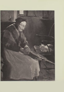 Image is of an elderly woman with a fireplace bellows Her hands are clasping the handle of the bellows she is hunched slightly over it Her arms and the bellows divide the image in half diagonally The woman is shown in right profile her white hair tucked under a kerchief or scarf A plaid shawl is draped over her shoulders She is wearing a dark coloured long sleeve top and a long light coloured skirt Beside her in the middle ground is a chair with a cat curled up on it In the centre background the bottom portion of a curtained window is visible The artists signature and year Stanhope A Forbes 1894 is in the bottom right hand corner The image is vertically displayed