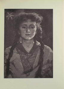 Image is of a full face portrait of a young girl She is shown from the shoulders up her long dark braids fall over the front of her shoulders Her shoulders divide the image in half horizontally She is wearing a patterned collared shirt with a single button a patterned flowered shawl is worn over top There is a light coloured jonquil flower in the background to the left of the girls head Her gaze is pensive as she looks slightly to her left where an unspecified light source is casting strong highlights on her left shoulder cheek chin upper lip and nose The artists signature E Forbes is located in the bottom left of the image