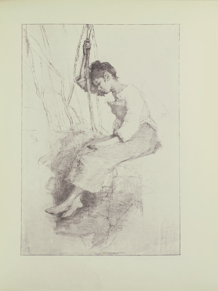 Image is of a young woman or girl sitting down She is wearing a light coloured dress with long sleeves and her hair is pulled up into a bun Her right arm is holding on to a branch or pole The branch or pole divides the image in half vertically She is shown in left profile with closed eyes her head leaning against her extended arm Her left arm is resting in her lap She is barefoot in an unidentifiable setting The background is open and light coloured The image is vertically displayed