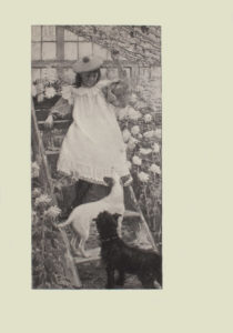 Image is of a young girl standing on a wooden ladder in a greenhouse She is wearing a dress with a white pinafore with ruffled sleeves and hemline she is wearing tights underneath Her hair is loose and dark She is wearing a beret with a pom pom She is shown in 3 4 face looking down at two small dogs in front of her Her left hand is extended upward grasping onto a vine while her right arm is resting on the step of the ladder Directly in front of her is a white dog with dark ears Its body is turned to the right as it is standing horizontally on the lowest step of the ladder but its head is looking up at her The darker dog has fluffier fur and a collar it is looking up at her as well The dark coloured dog is standing on the ground his body turned slightly to the left All three figures are surrounded by chrysanthemums There is a multi paned window in the background