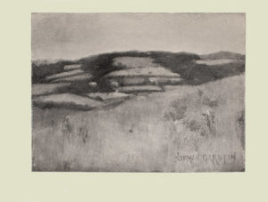 Image is of a landscape in England In the foreground there is a hill that slopes from the right to the left There are several flowers dotting the hill Farmers fields and trees can be seen in the middle ground The sky is clear and light coloured The artists signature Norman Garstin is in the bottom right hand corner The image is displayed horizontally