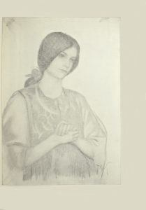 Image is of a young woman or girl shown from the waist up She is wearing a patterned long sleeved shirt Her hands are clasped in front of her chest She is shown in 3 4 face with her head slightly cocked and looking to the right Her long dark hair is pulled back in a low ponytail The background is open and light coloured The artists initials T C G are in the bottom right corner of the image The image is vertically displayed