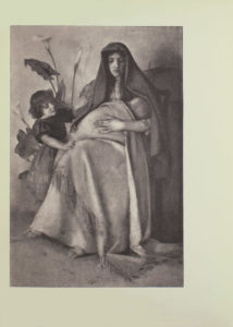 Image is of a woman sitting down on a chair and cradling a child She is wearing a headdress which drapes over her shoulders and a floor length dress Her toes can be seen poking out from underneath her hemline She is shown in full face looking down to the right where an infant is wrapped in blankets To the left is an angel or cherub with short dark hair wearing a dark coloured dress with rouched sleeves Her arms are extended the left one is touching the womans arm while the right arm is resting on the womans leg Behind the angel or cherub is a Calla lily plant The figure of the woman casts a shadow on the wall The artists signature is in the bottom left corner CAROLINE GOTCH The image is vertically displayed