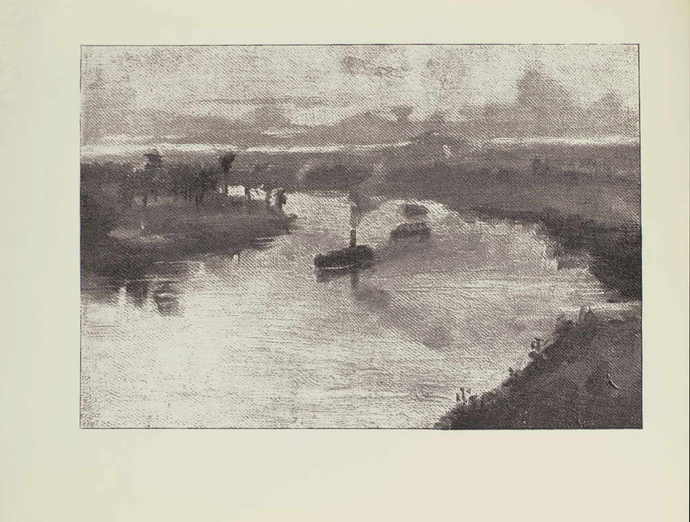 Image is of a waterscape In the centre of the image there are two boats winding along a river The centre larger boat has a single smoke stack puffing out a cloud of smoke the smaller boat to the right does not have a smokestack To the left of the boats is a peninsula with many trees A reflection of these trees can be seen in the water To the right of the boats there is also a wide stretch of land starting at the bottom right corner that winds around the river to the left side of the image The sky is light and cloudy The image is horizontally displayed
