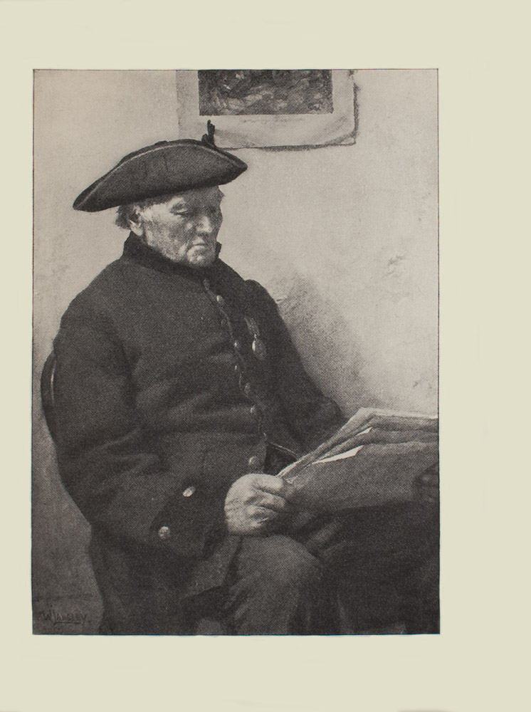 Image is of a soldier sitting reading a newspaper He is shown in 3 4 face wearing military regalia His coat has every other metal button done up and it is open at the bottom He is wearing a tricorne On the left lapel of his jacket is a medal He is looking down at the folded newspaper There is a print immediately behind him in the centre of the wall The wall is bare and light coloured The artists signature W Langley is in the bottom left corner The image is vertically displayed