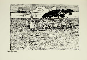 Image is of a woman looking over a pen of sheep She is shown in profile standing to the left of the wooden pen Both her dress and her hair are light coloured To the right and behind the pen is a cluster of low wide trees On the left side of the image there are four ducks or geese in the foreground walking towards the woman A single duck or goose can be seen to the left of the woman In the background there are rolling hills fences and trees A female figure can be seen in the distance The sky is cloudy A thick black line frames the image The artists signature Frank Richards is below the line in the left corner The image is horizontally displayed