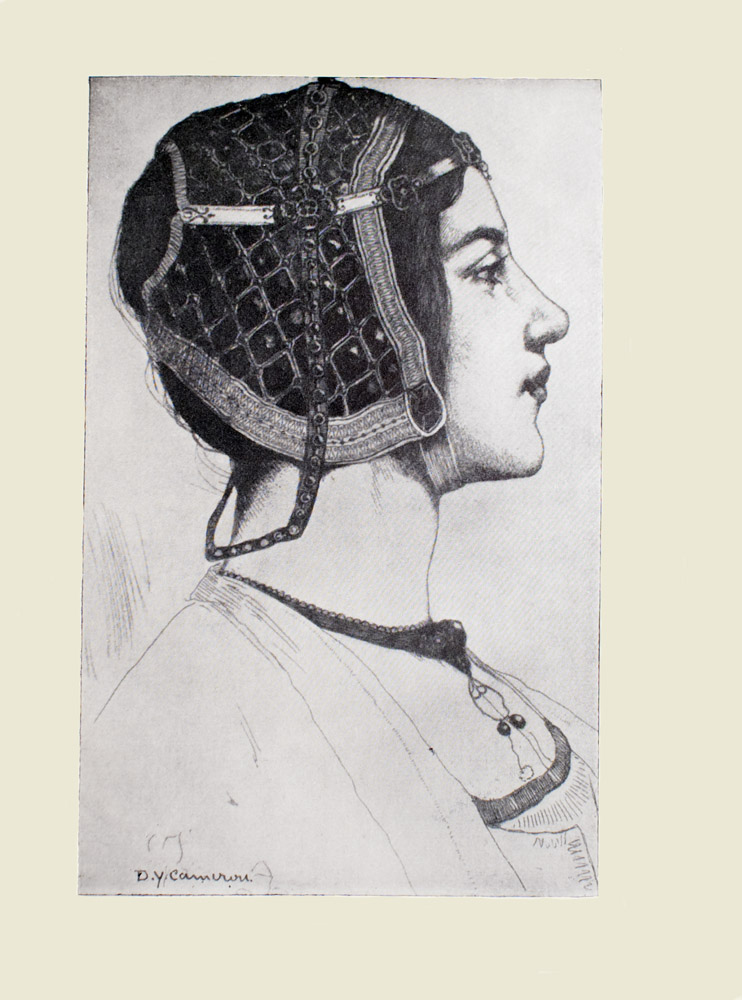 Image is of a girl shown in profile from the neck up She is wearing a renaissance headpiece with her dark hair tucked underneath She is facing the right with eyes looking forward An ornate necklace rests on her collarbone and chest Her clothes are of a light colour The background is open and light coloured The artists name D Y Cameron is in the bottom left of the image The image is displayed vertically