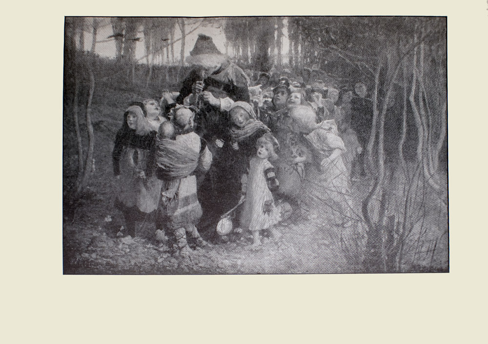 Image is of many young children surrounding a man playing a pipe Most of the children are looking up at him with heads tilted They are standing in a clearing of a forest with relatively bare trees leaves are spread across the ground The piper is wearing dark clothing and a fur trimmed hat His head is bent down and looking at two children in front of him His body divides the image in half vertically One of these children is a young boy and the other is a baby The infant is swaddled and attached to the boys shoulder Both of them are looking at the piper A young girl is to the left of this boy she is wearing dark clothing and a headdress She is looking away from the piper to the right and out into the forest In the background behind her three dark birds are flying overhead To the mans left side is a young girl wearing dark clothing and a light headdress Her head is tilted towards the piper she also has a smile on her face The toddler beside her is wearing a light coloured dress The child is barefoot and is carrying an instrument in their right hand The image is horizontally displayed