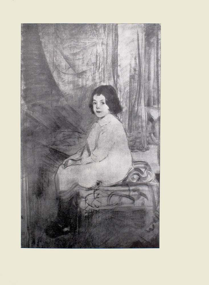 Image is of a girl sitting on a patterned ottoman with a pillow She is shown in 3 4 face with eyes looking straight ahead Her body is pointing to the left with her knees pressed together and her hands clasped in her lap She is wearing a collared long white dress that reaches her knees with dark coloured socks and shoes The girl has short, dark curly hair The background is light coloured with curtains The image is vertically displayed